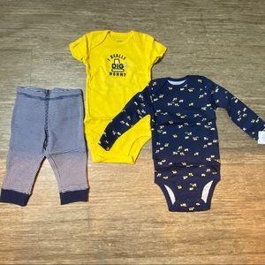 Carters Baby Boys Three Piece Bodysuit/Pants Set